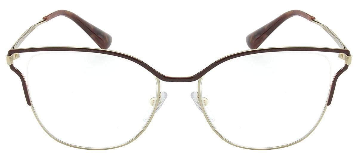 0ee145e03 Oculos de grau Prada Cinema Evolution 54UV tem armacao em metal dourado  palido com acabamento em marrom ao redor do superior da fronte,que  transforma o do ...