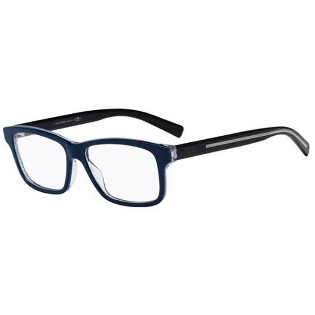 09549fa5a6ea0 Oculos de grau Dior Black Tie 204 tem armacao retangular confeccionada em  acetato azul e acabamento translucido As hastes pretas garantem contraste e  um ...