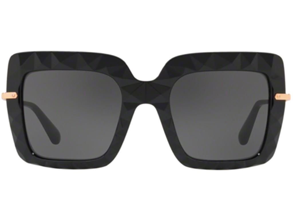 1430045dd50b3 Oculos de sol Dolce Gabbana Faced Stones DG 6111 tem armacao quadrada em  acetato lapidado na cor preto brilhante