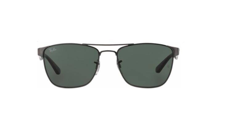O oculos de sol Ray-Ban RB3520 tem a armacao retangular em metal grafite e  hastes pretas Suas lentes verdes garantem protecao contra os raios solares  Modelo ... 19c3002816