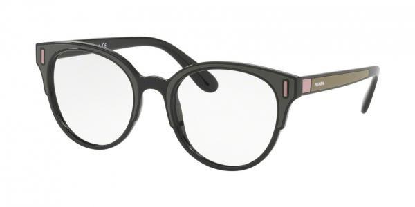 e665c75595607 Oculos de grau Prada PR 08UV tem armacao meio aro produzida em acetato  preto e verde e rosa Um modelo elegante ideal para o dia a dia