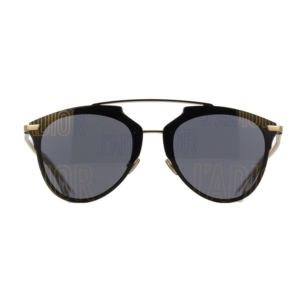 73563e3472831 Os oculos de sol Dior Jadior Reflected tem a armacao preta com uma ponte  dupla em metal dourado e hastes finas em acetato transparente O charme da  peca e ...
