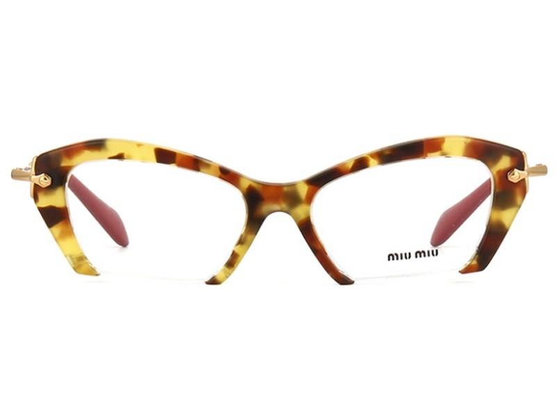 2e812eef991ba O modelo de grau da Miu Miu, MU03OV tem armacao no formato gatinho,  produzida com fronte em acetato havana alaranjado e hastes em metal dourado  e ponteira ...