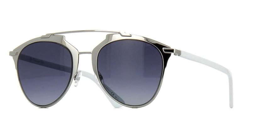 bc1077d107ad4 Oculos de sol Dior Reflected com a face composta por uma folha de metal  prata sobreposta por uma ponte dupla A pecas conta com hastes sao em  acetato branco ...
